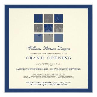 Modern Blocks Grand Opening Invitation blue