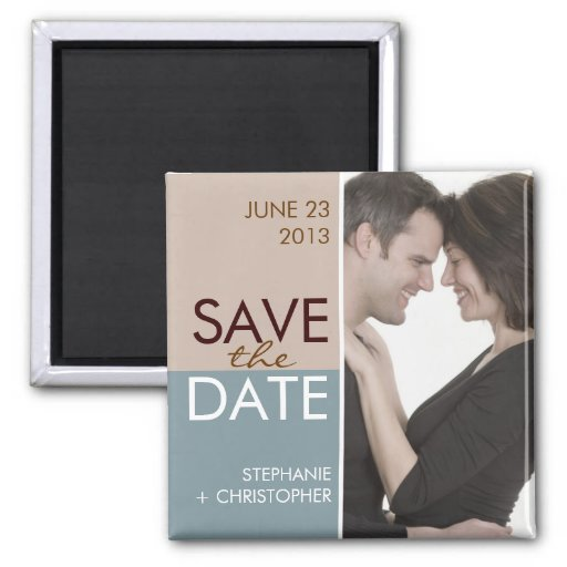 Modern Blocks Save the Date Blue & Brown Refrigerator Magnet