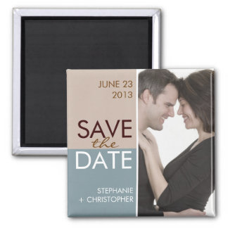 Modern Blocks Save the Date Blue & Brown Square Magnet