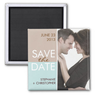 Modern Blocks Save the Date Brown & Teal Square Magnet