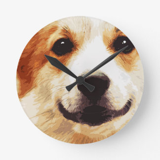 modern blown Welsh Corgi Round Clock