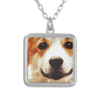 modern blown Welsh Corgi Silver Plated Necklace