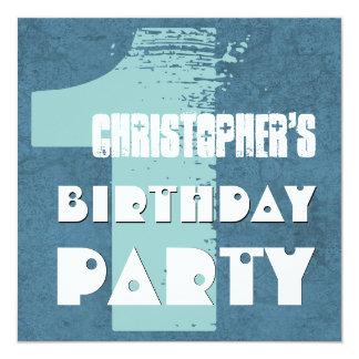 Modern BLUE 1st Birthday Party  One Year Old V01 Custom Invitations