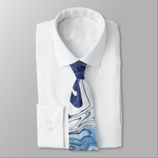 Modern Blue Abstract Design Tie