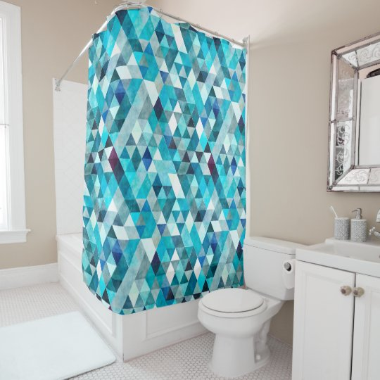 Modern Blue Abstract Pattern Shower Curtain
