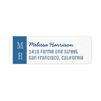 modern blue address label with script name
