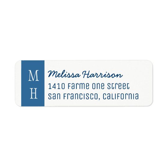 modern blue address label with script name