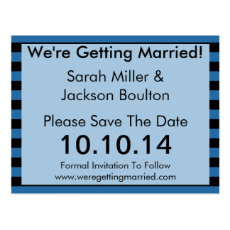 Modern Blue and Black Stripe Save The Date Postcard