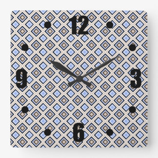 Modern Blue and Gray Confetti Squares Geo Pattern Square Wall Clock