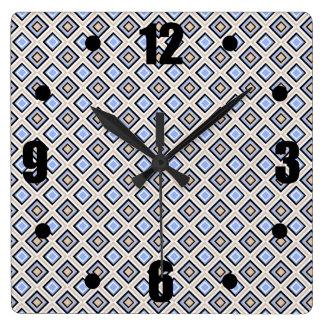 Modern Blue and Gray Confetti Squares Geo Pattern Wallclock