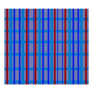 Modern blue and purple grid pattern with stripes poster