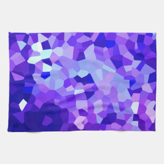 Modern Blue and Purple Stained Glass Ocean Mosaic Tea Towel