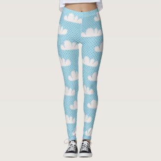 Modern Blue and White Clouds Leggings