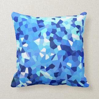 Modern Blue and White Crystallized Ocean Mosaic Cushion