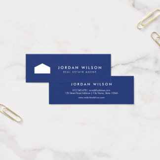 Modern Blue and White House Real Estate Agent Mini Business Card