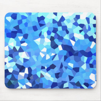 Modern Blue and White Stained Glass Ocean Mosaic Mouse Pad