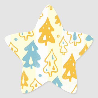 Modern Blue and Yellow Pine Trees Forest Pattern Star Sticker