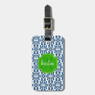 Modern Blue Arabesque Damask Green Personalized Luggage Tag