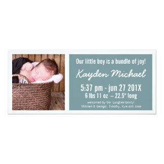 Modern Blue Baby Boy Birth Announcement