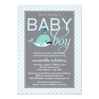 Modern Blue Baby Shower Boy Little Whale Mustache Custom Announcement