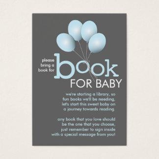 Modern Blue Balloon Baby Shower Book Insert Card