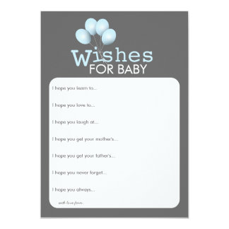Modern Blue Balloon Boy Baby Shower Wishes Card 13 Cm X 18 Cm Invitation Card