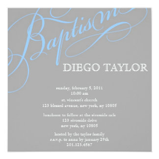 Modern Blue Baptism Invitation