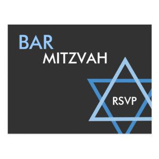 Modern Blue Bar Mitzvah RSVP Postcard