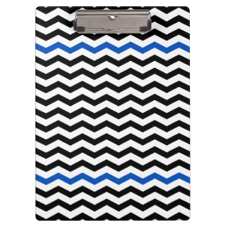 Modern Blue & Black Chevron Zigzag Print Clipboard
