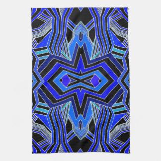 Modern Blue Black & White Geometric Tea Towel
