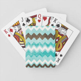 Modern Blue Brown Chevron Pattern Playing Cards