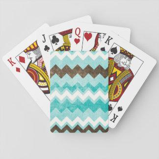 Modern Blue & Brown Chevron Pattern Playing Cards