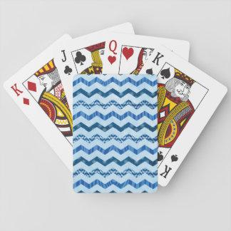Modern  Blue Chevron Pattern Deck Of Cards