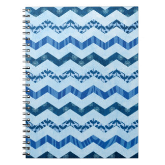 Modern Blue Chevron Pattern Notebook