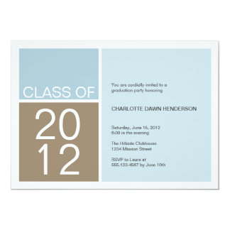 """Modern blue color block class graduation invite 5"""" x 7"""" invitation card"""