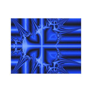 Modern Blue Cross Fractal Abstract Canvas Print