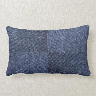 Modern blue denim jeans photos patchwork pattern lumbar cushion