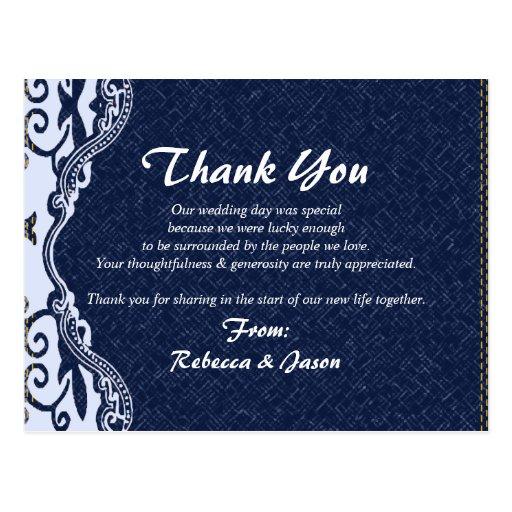 modern blue denim lace  country wedding thankyou postcard