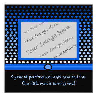 Modern Blue Dots First Birthday Party Invitations
