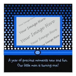 "Modern Blue Dots First Birthday Party Invitations 5.25"" Square Invitation Card"
