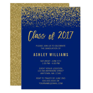 Modern Blue Faux Gold Glitter 2017 Graduation Card