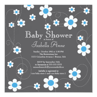 Modern Blue Flowers Floral Boys Baby Shower 5.25x5.25 Square Paper Invitation Card