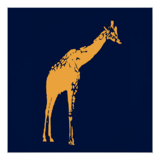 Modern Blue Giraffe Poster Decor