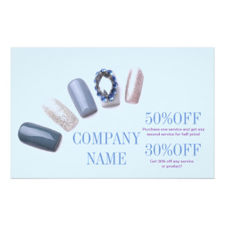 modern blue girly beauty salon nail artist 14 cm x 21.5 cm flyer