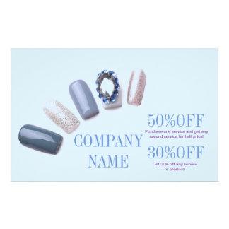 modern blue girly beauty salon nail artist custom flyer