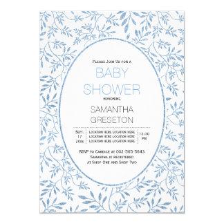 Modern blue glitter leaves trendy baby shower 13 cm x 18 cm invitation card