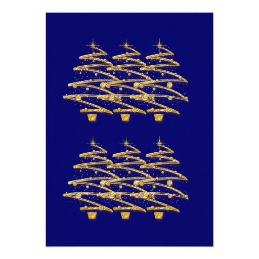 Modern blue gold Christmas trees invitations