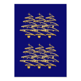 "Modern blue gold Christmas trees invitations 5"" X 7"" Invitation Card"