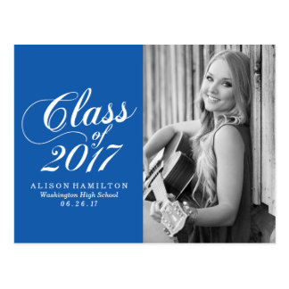 Modern Blue | Graduation Announcement Postcard