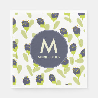 MODERN BLUE GREEN FLORAL PATTERN PERSONALISED PAPER NAPKINS